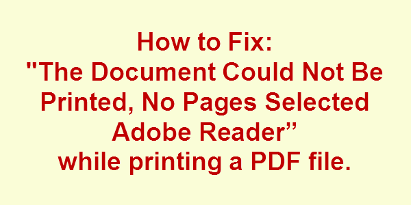 pdf file couldn't be printed