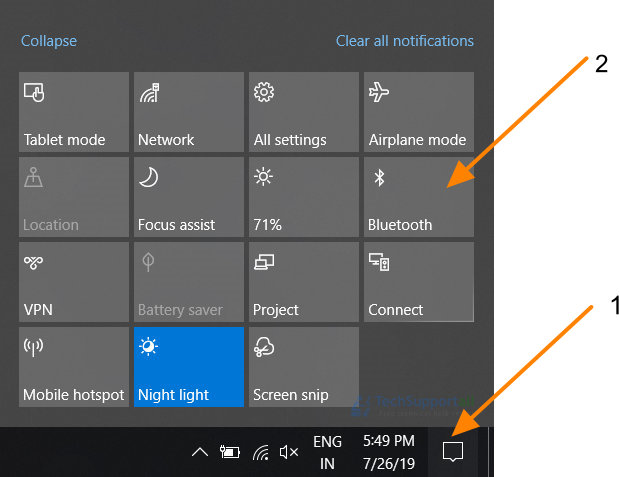 Bluetooth shortcut in windows 10