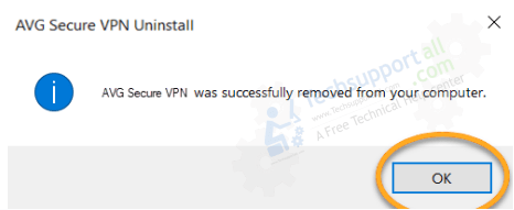 AVG secure VPN is uninstalled