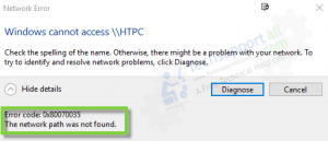 Error Code 0x80070035 the Network Path Was Not Found