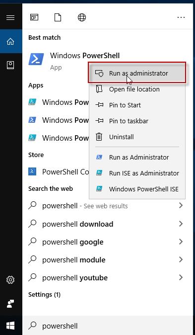 run power shell in admin