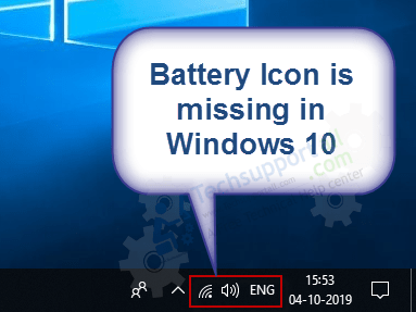 battter icon is not shown in taskbar