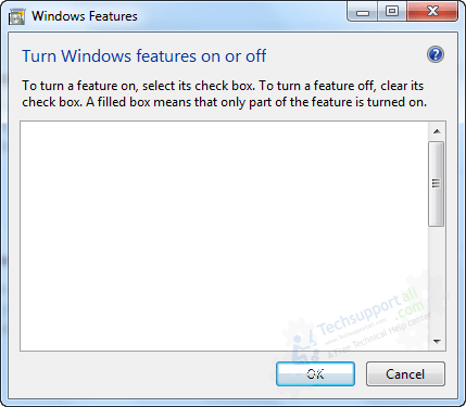Turn Windows Features on off showing the blank page