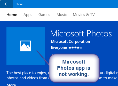 ms photos app is not showing