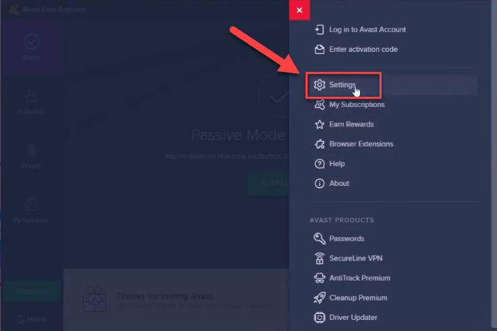 go-to-avast-settings image