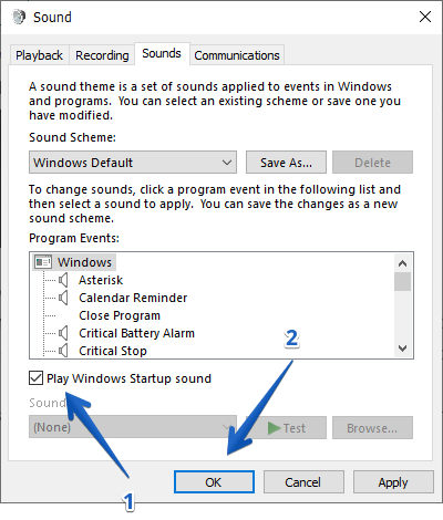 sound configuration window