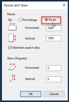 select pixel option