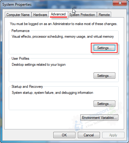 go to visual effect settings