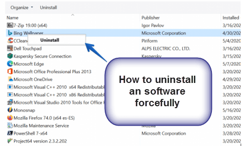 uninstall application forcefully