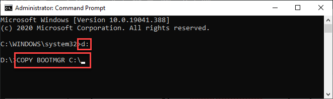 copy bootmgr command