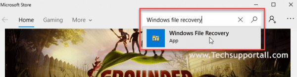 search for Windows file recovery