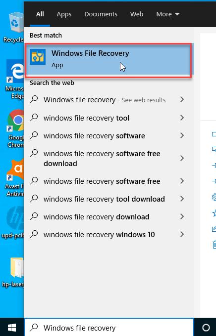 start windows file recovery