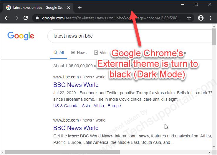 google chrome external dark mode