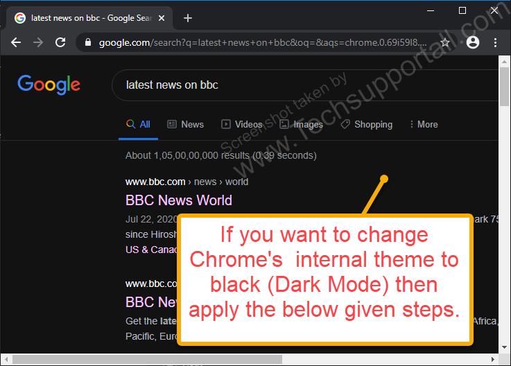 google chrome internal dark mode