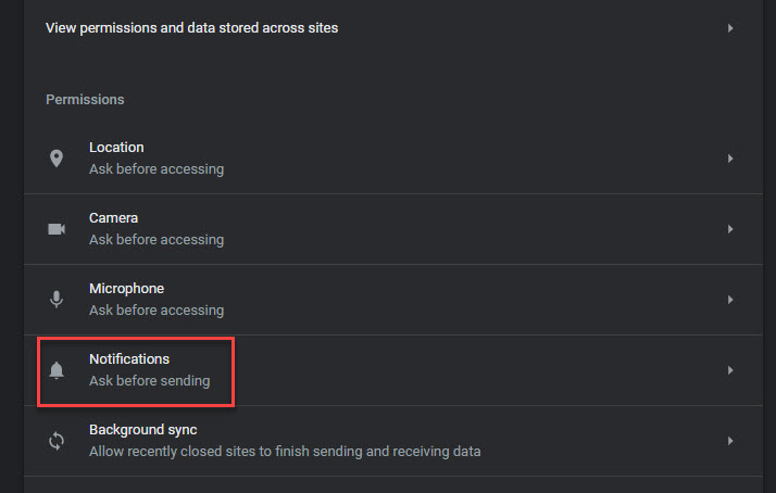 notificationssettings of google chrome