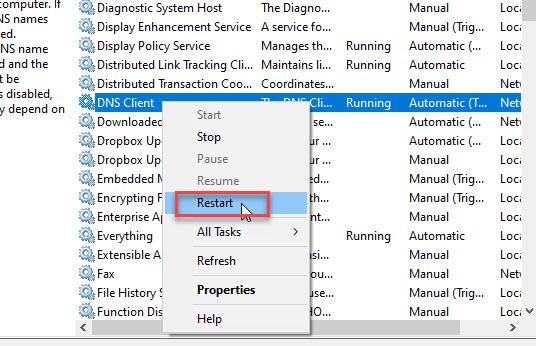 Restart DNS client