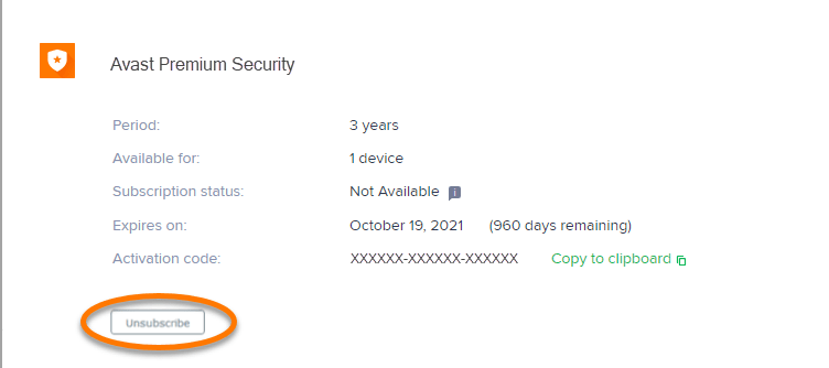 unsubscribe avast