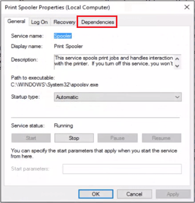 dependencies tab