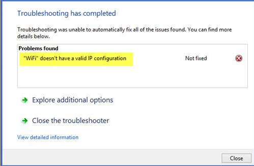 Ethernet doesn't have a valid IP configuration in windows 10