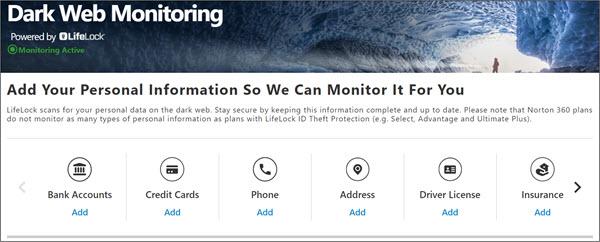 Dark web monitoring by Norton LifeLock