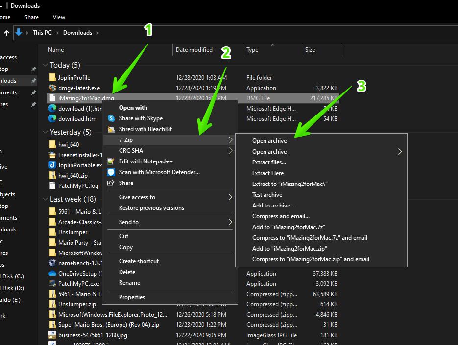 Open DMG files in Windows 10 using 7zip