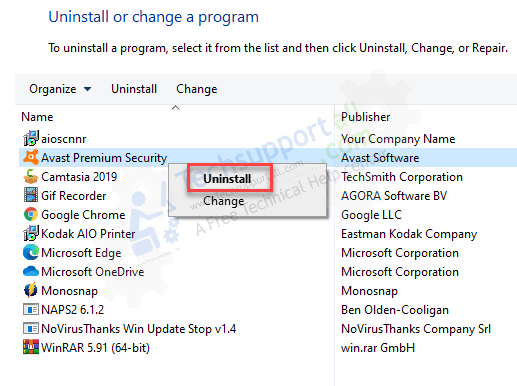 step 3 to uninstall avast