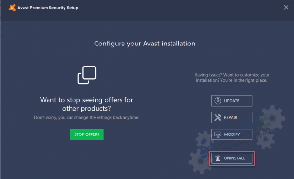 final step to uninstall avast