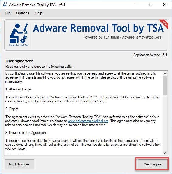 adware removal tool agreement