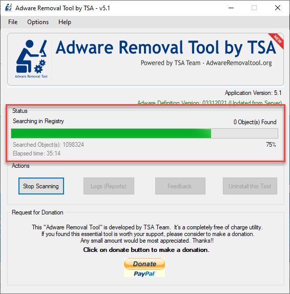 adware removal tool being scanned