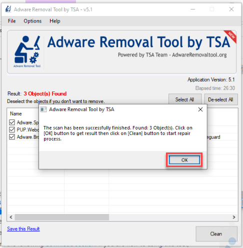 adware removal tool cleaning process