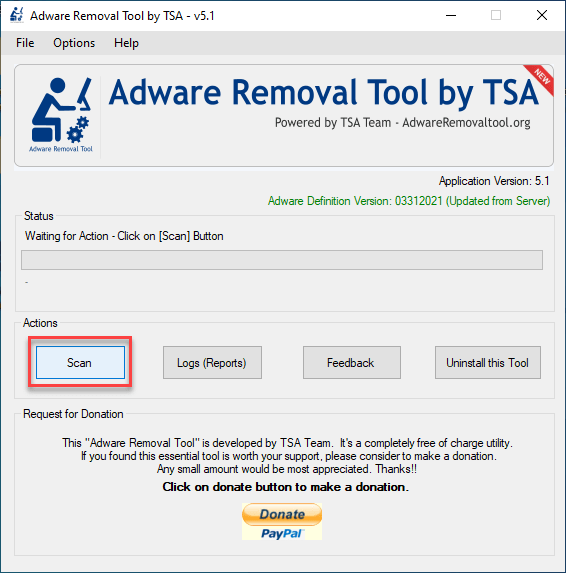 adware removal tool start scanning