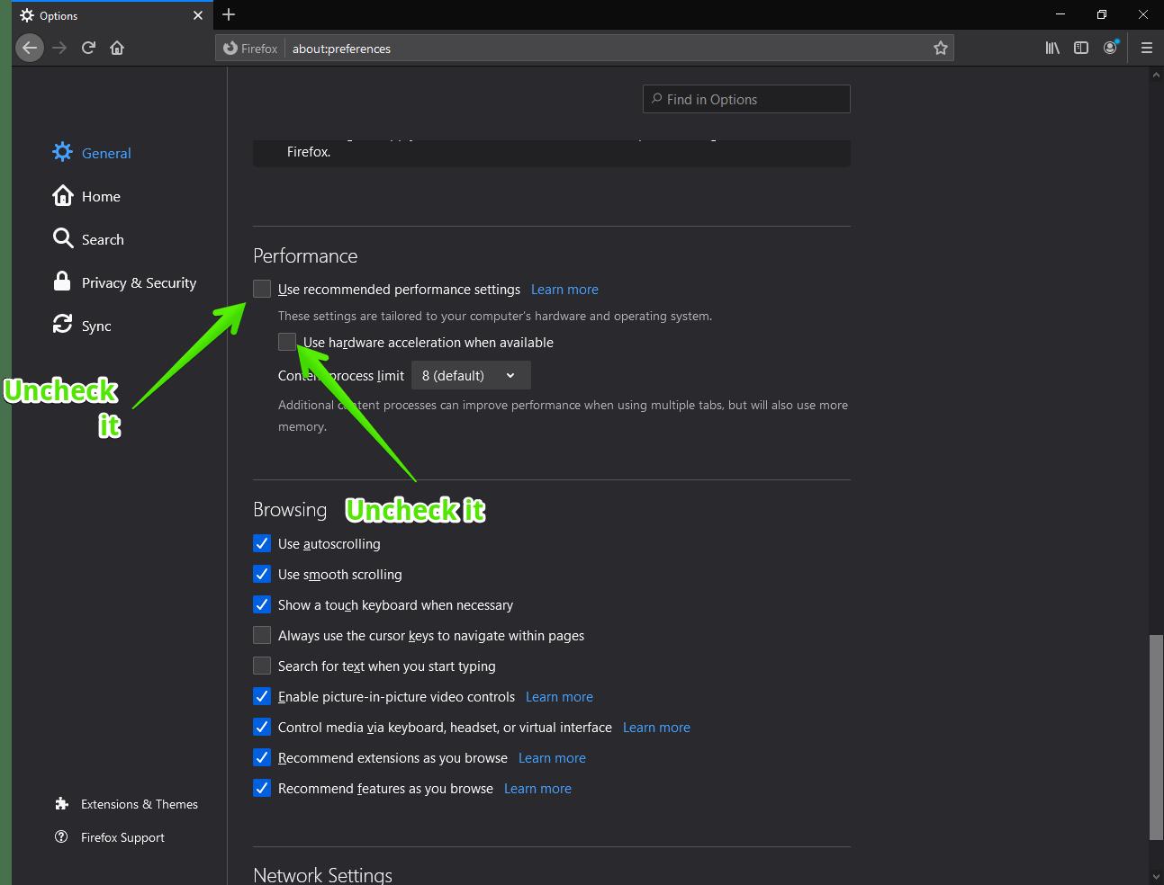 Mozilla Firefox - Disable Hardware Acceleration