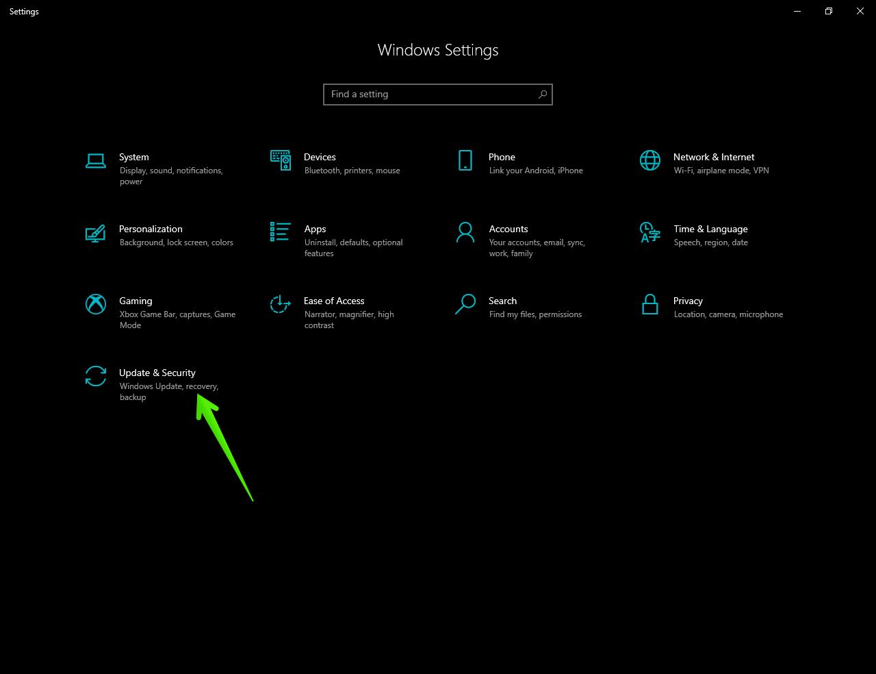 Windows update & Security in settings