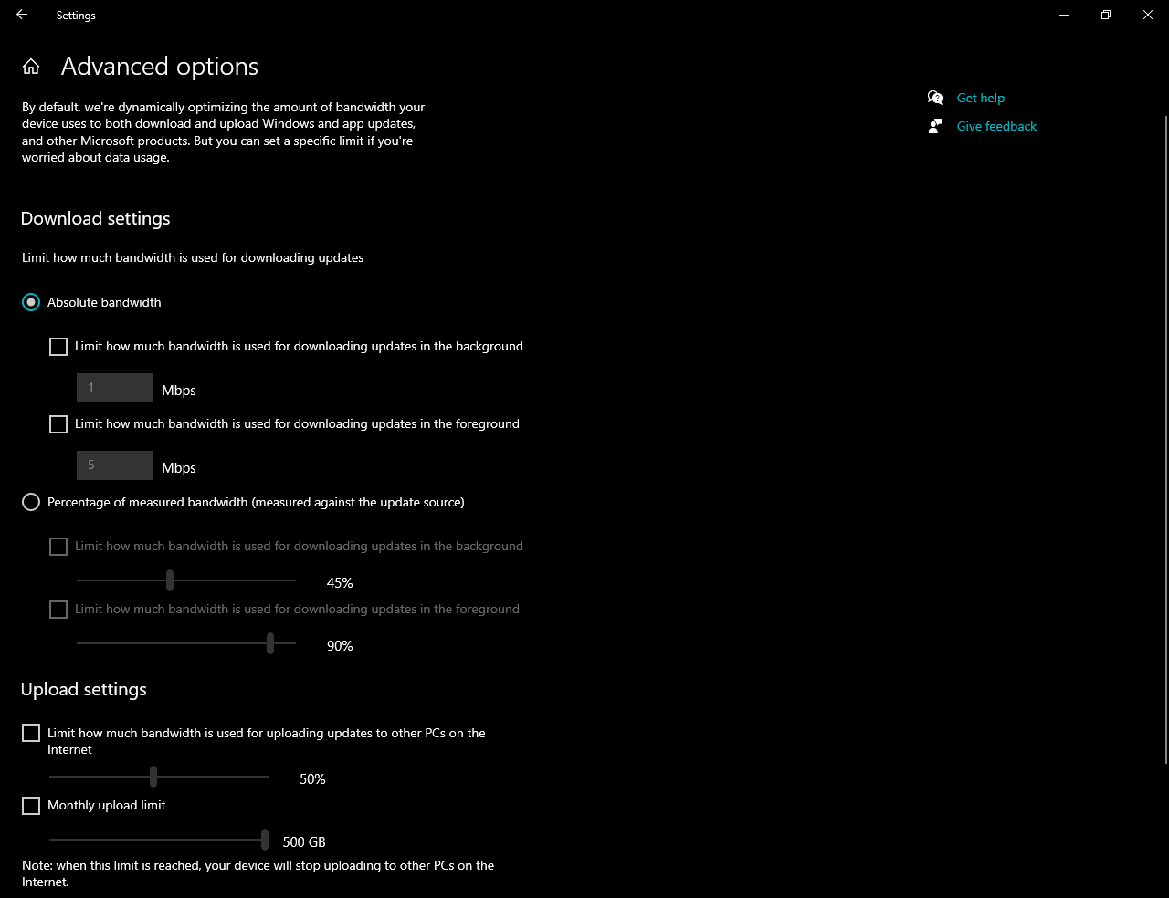 Option to manage download of Windows 10 updates