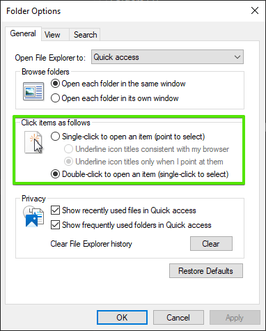 Check double click setting in folder options