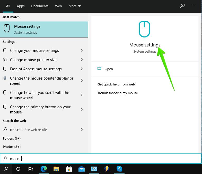 Open Mouse settings