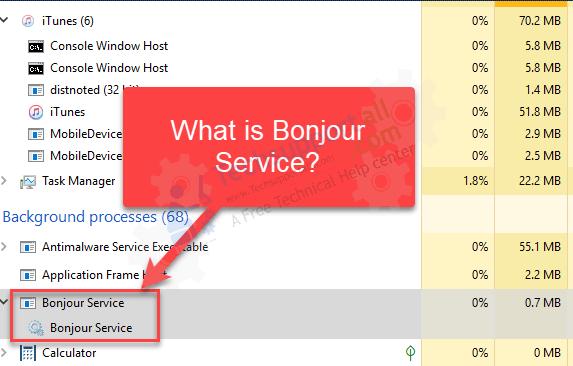 bonjour service windows 10