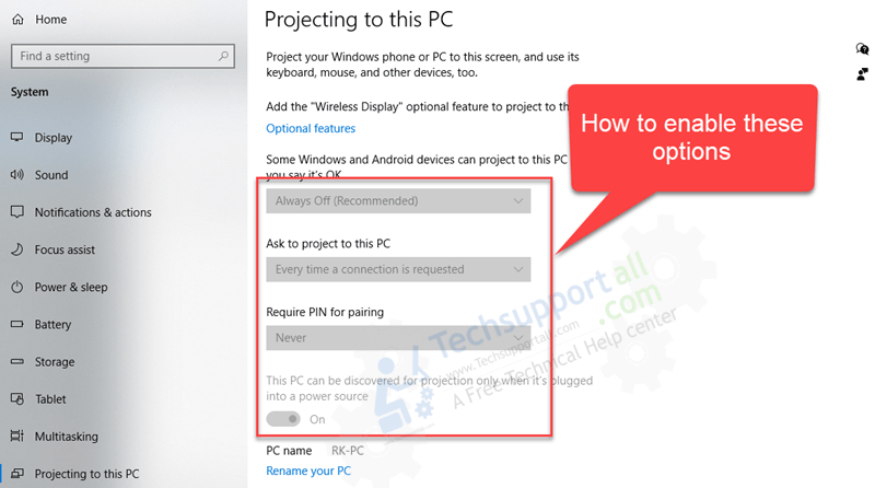 fix projecting to this pc options are disabled