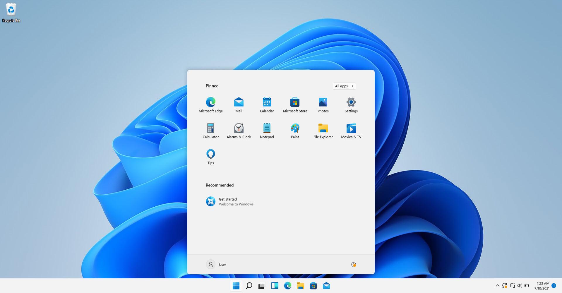 Windows 11 desktop with new start menu