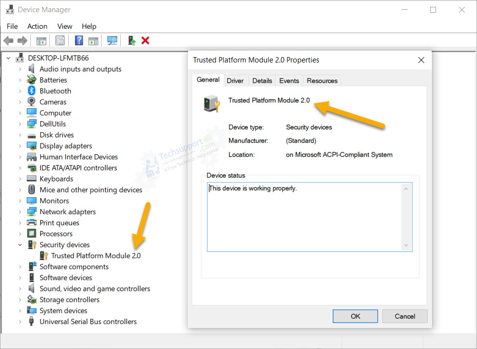 Check TPM version using Device Manager