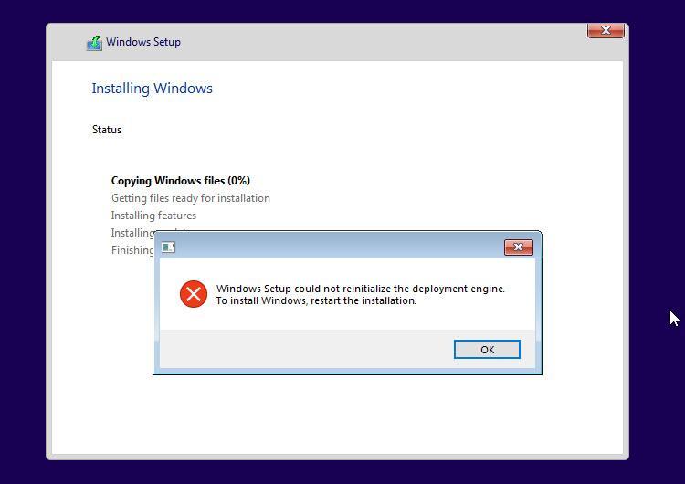 Windows 10 install error