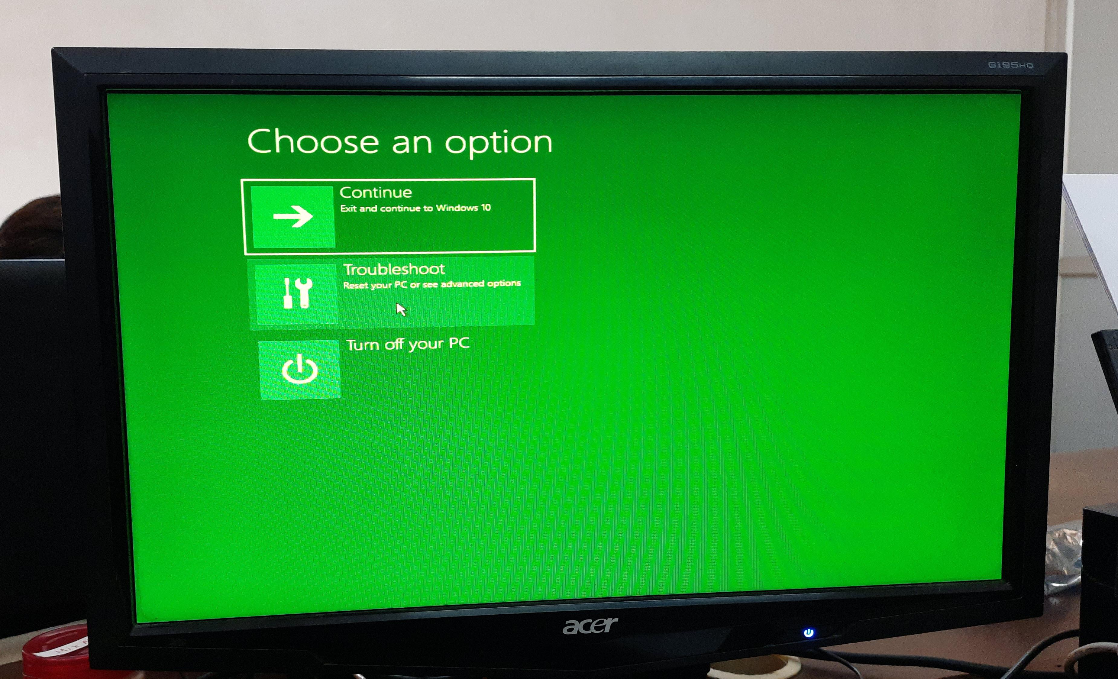 green tint on monitor